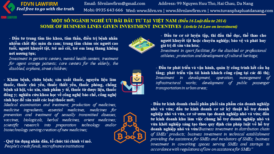 SOME OF BUSSINESS LINE GIVEN INVESTERMENT INCENTIVES